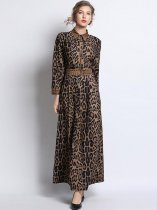 Retro Lapel Leopard Printing Slim Long Evening Dress