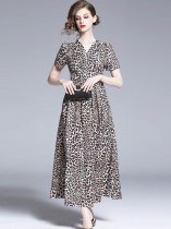 Vinfemass Retro V Neck Leopard Printing Slim Long Evening Dress