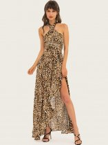 Vinfemass Elegant Halter Neck Leopard Printing Slit Side Backless Long Evening Dress