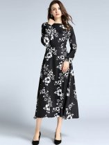 Vinfemass Floral Printing Slim Long Evening Dress
