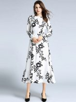 Floral Printing Slim Long Evening Dress