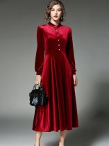 Solid Color Stand Collar Puff Sleeve Slim Velvet Long Evening Dress