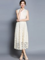 Vinfemass Solid Color Lace Hollow Slim Sleeveless Tank Lace Long Evening Dress