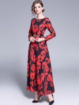 Retro Floral Printing Long Evening Dress (Belt Not Included)