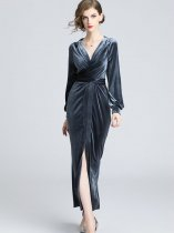 Vinfemass V Neck Slit Side Velvet Long Evening Dress