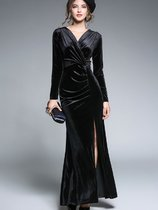 Vinfemass Solid Color V Neck Slit Hem Long Velvet Evening Dress