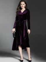 Vinfemass V Neck Velvet Lacing Decor Falbala Hem Long Evening Dress