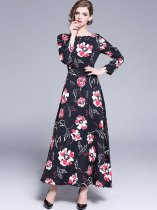 Vinfemass Retro Floral Printing Long Evening Dress