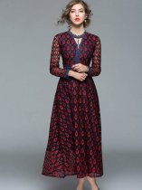 Color Block Lace Long Formal Dress