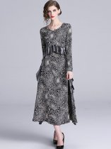Vinfemass V Neck Leopard Printing Falbala Hem Long Evening Dress