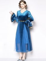 Vinfemass V Neck Solid Color Mesh Velvet Patchwork Flare Sleeve Long Evening Dress