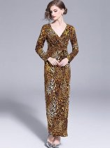 Vinfemass V Neck Leopard Printing Long Evening Dress