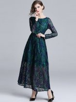 Vinfemass Retro Lace Hollow Slim Long Evening Dress