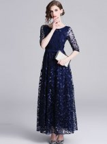 Elegant Mesh Patchwork Embroidery Flowers Long Evening Dress