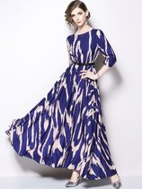 Vinfemass Retro Printing Belt Decor Long Skater Evening Dress