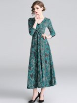 Vinfemass V Neck Retro Printing Long Slim Evening Dress