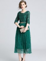 Vinfemass Solid Color Lace Mesh Patchwork Belt Decor Long Evening Dress