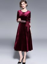 Vinfemass Velvet Solid Color Lacing Bowknot Decor Long Evening Dress