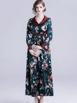 Vinfemass Lapel Floral Printing Slim Long Evening Dress