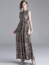 Vinfemass Stand Collar Leopard Printing Lacing Sleeveless Tank Long Evening Dress