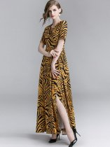 V Neck Leopard Printing Lacing Slit Side Long Evening Dress