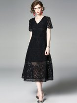 V Neck Solid Color Lace Hollow Long Evening Dress
