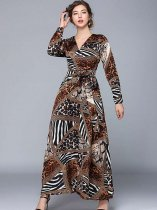 Vinfemass V Neck Retro Printing Lacing Decor Long Evening Dress