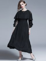 Black Ruffle Long Sleeve Evening Dress