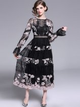 Vinfemass Puff Sleeve Embroidery Flowers Mesh Patchwork Hollow Long Evening Dress
