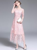 Pink Embroidered Lace Evening Dress