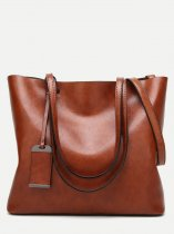 Leather Tassel Large Tote Bag