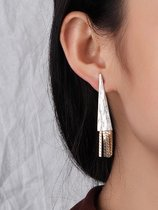 Triangle Tassels Gold Drop Earrings