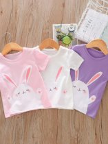 Kids Girls Rabbit Print Cotton T-shirt