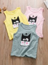 Toddler Girls Cat Letter Print Vest