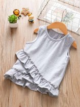 Toddler Girls Solid Color Falbala Hem Cotton Vests