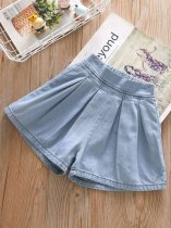 Toddler Girls Wide Leg Blue Denim Cotton Shorts