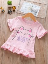 Kids Girls Pink Cat Letter Print Ruffle T-shirt