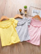 Toddler Girls Solid Color Falbala Hem Cotton T-shirts