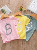 Kids Girls Solid Letter Print T-shirt