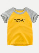 Toddler Girls Letters Print Color Block Cotton T-shirts