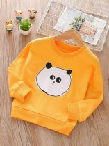 Toddler Girls Cartoon Bear Print Cotton Long Sleeve Sweatshirt