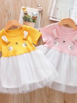 Toddler Girls Mesh Patchwork Rabbit Pattern Casual Dress