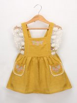 Toddler Girls Embroidery Lace Patchwork Pockets Backless Dress