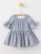 Toddler Girls Blue Flare Sleeve A-line Dress