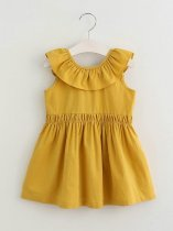 Toddler Girls Solid Color Backless V Casual Sleeveless Dress