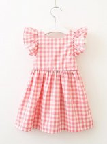 Toddler Girls Plaid Bow Back Ruffle Dress
