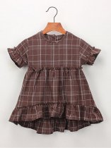 Toddler Girls Ruffle Hem Plaid Dress