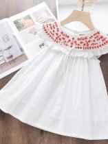 Toddler Girls Embroidery Solid White Sleeveless Dress