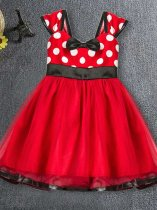 Toddler Girls Polka Dots Print Bowknot Mesh Bottom Tulle Sleeveless Gown Dress