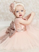 Toddler Girls Sequins Bowknot Back Tulle Sleeveless Gown Princess Dress